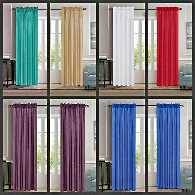$12 • Buy 1 Set Rod Pocket 2-tone Many Colors Mix & Match Window Curtain Faux Silk Any