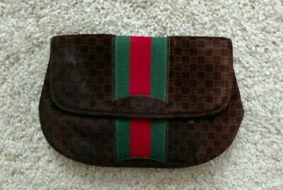 433736801100 Needs Cleaning Vintage Gucci Small Brown Monogram Clutch Wallet Case Bag •  78.00$