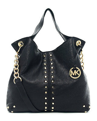 daa80b1f8cfaee NWT Michael Kors Uptown Astor Black Leather Gold Studded Large Tote $458  NEW • 259.99$