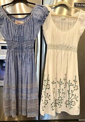 5257284085 PAIR Of Dresses Chelsea Violet Dillards Size S Blue Embroidery Smocking EUC  • 11.99