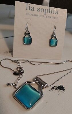 $ CDN36.67 • Buy New Lia Sophia Blue Jade Earring & Necklace Set Silver Rhodium Signed Mother Day
