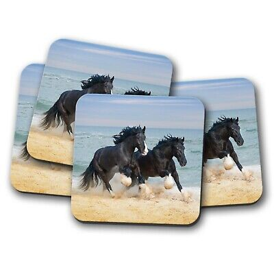 4 Set - Shire Horses Coaster - Beautiful Animal Ocean View Cool Pony Gift #12681 • 8.99£