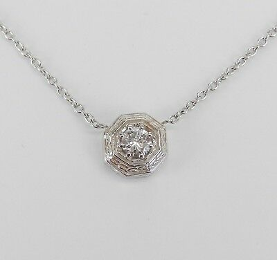 $675 • Buy 18K White Gold Diamond Solitaire Pendant Necklace 18  Chain Antique Style Design