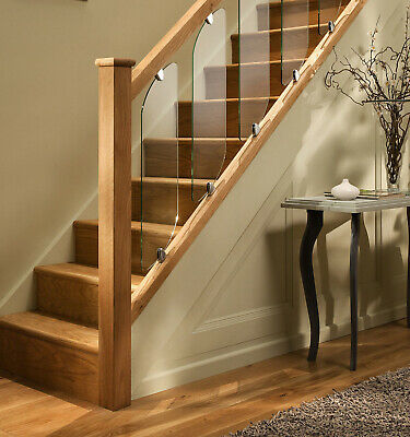 Axxys Clarity Glass Panel Stair Or Landing Kit With Oak Handrail & Glass Clamps • 23.97£