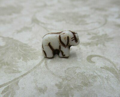 £3.59 • Buy Glass Elephant Beads Antiqued Ivory 11mm Engraved Czech Glass Zoo Animal 12pc