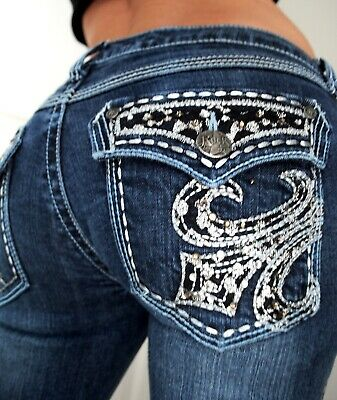 b332d446 Wrangler Rock 45 Ultra Low Rise Embellished Boot Cut Denim Jeans 3 X 33 •  24.99