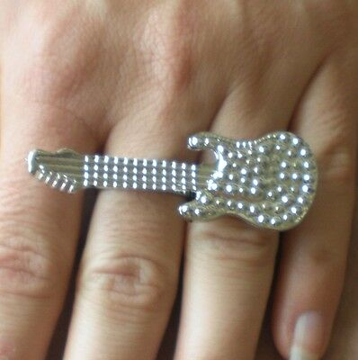 $ CDN23.71 • Buy Guitar Double 2 Finger Large Silver Brass Knuckle Ring Punk Acoustic Electric