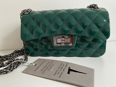 £35 • Buy FB68 Dark Green PVC Quilted Bag With Pewter Chain Shoulder Or Cross Body