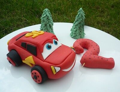 3D Novelty HANDMADE CARS LIGHTNING MCQUEEN CAKE TOPPER/ Birthday • 19.95£