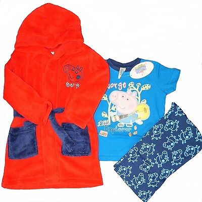 GEORGE PIG:SUPER SOFT RED DRESSING GOWN/ROBE AND PYJAMA SET,18/24m,2/3YR,4/5YR, • 18.99£