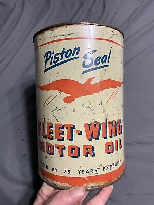 $ CDN232.75 • Buy Vintage Fleet Wing Motor Oil Can * Rare 5 Five Quarts *Piston Seal Cleveland OH