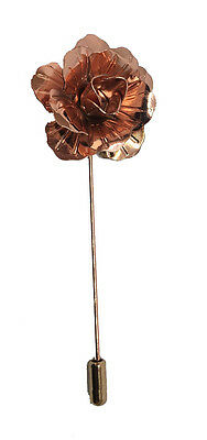 Rose Gold Handmade Metal Flower / Rose Lapel Pin, Buttonhole, Corsage, Boutonnie • 6.99£