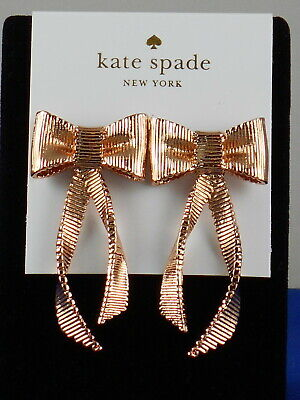 $ CDN67.02 • Buy Kate Spade Rose Gold ALL WRAPPED UP Textured Bow Linear Drop Earrings O0RU2710
