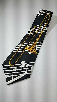 A. Rogers Trombone Music Notes Men's Tie Necktie Black / Gold - 100% Polyester • 11.74$