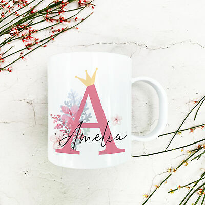Personalised Floral Crown Plastic Mug Children's Birthday Gift Cup Any Name • 10.99£