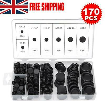 170pcs Assorted Rubber Blanking Grommets Kits Open/Closed Blind Plug Wiring Bung • 10.69£