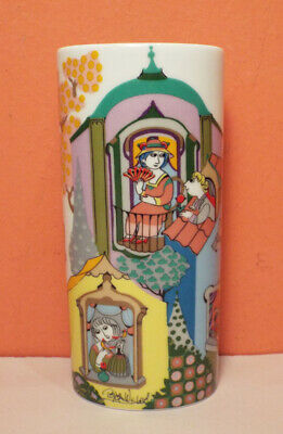 Rosenthal SCENES FROM WINDOW Bjorn Wiinblad Oval Vase PERFECT Germany SIGNED • 75$