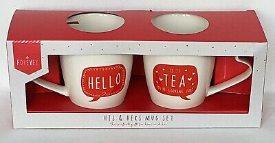 £11.99 • Buy His & Hers Twin Mug Set - Hello Is It Tea You're Looking For - Brand New