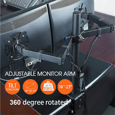 """£17.99 • Buy LED Double Arm Desk Mount Bracket LCD Computer Monitor Stand 13""""-27"""" Screen TV"""