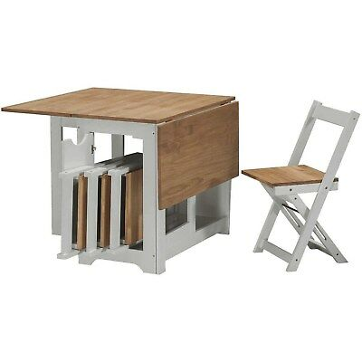 £184.96 • Buy Seconique Santos Butterfly Folding Dining Set In Grey & Pine With 4 Dining Chair