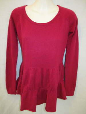$14.36 • Buy 100% Cashmere Deep Pink Crew Neck Tiered Sweater May Fit XS