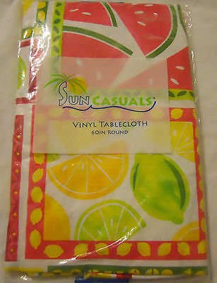 $10.98 • Buy Sun Casuals Vinyl Tablecloth Yellow Pink Green White Round Square Oblong
