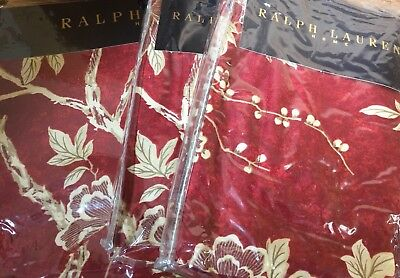 Ralph Lauren Deauville Blossom Satin Red Duvet Cover Set King Luxury • 399.99£