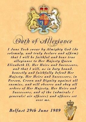 UDR Ulster Defence Regiment Greenfinches    Oath Of Allegiance • 10£