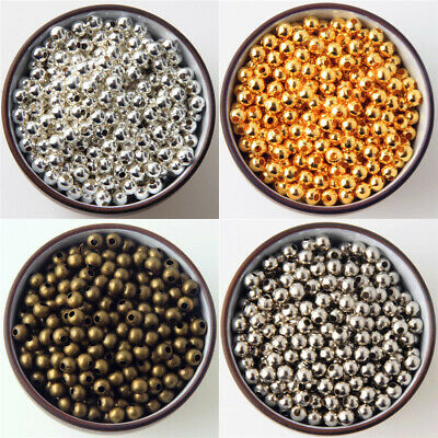 $ CDN1.57 • Buy 2mm 3mm 4mm 6mm 8mm SILVER Bronze Gold Metal Round Ball Smooth SPACER BEADS DIY
