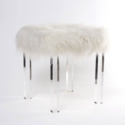 $244.95 • Buy Side End Table Clear Acrylic Bedroom Modern Mongolian Faux Fur Ivory Pink