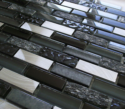 £8.98 • Buy New Black Blue Glass Stone & Silver Turned Steel Rectangle Mosaic Wall Tiles 8mm