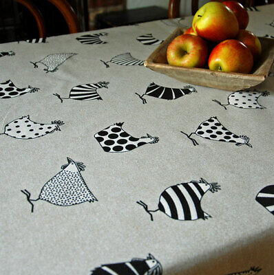 French Linen Oilcloth Vintage Chickens Design Wipe Clean Table Cloth • 8£