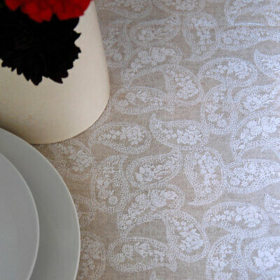 French Linen Oilcloth Classic Paisley Machine Washable Table Cloth • 8£