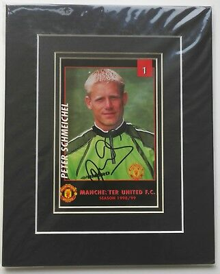 PETER SCHMEICHEL - MANCHESTER UNITED SIGNED POST CARD - 10  X 8  MOUNT TREBLE  • 35£