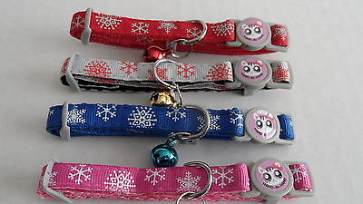 (CC052) Christmas Snowflake Cat Kitten Safety Collar With Bell • 2.75£