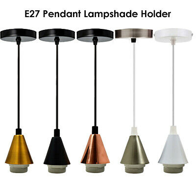 Modern Pendant Light Fitting Ceiling Rose E27 Suspension Set Corded 5 Colours UK • 8.69£