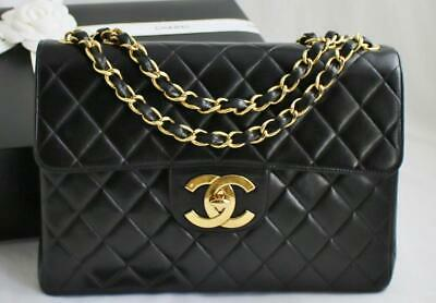 4264a45ced45f1 CHANEL JUMBO Vintage Black LAMBSKIN Flap Bag 24k GHW XL CC's  AUTHENTICATED!! • 3,099.00