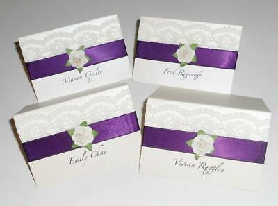 10 Personalised Place Name Cards Rustic Vintage Wedding Lace Rose Shabby Chic • 10£