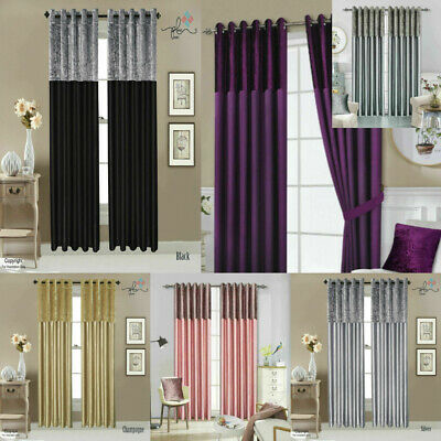 Crushed Velvet Band Curtains PAIR Eyelet Faux Silk Fully Lined Ring Top UK Sizes • 26.49£