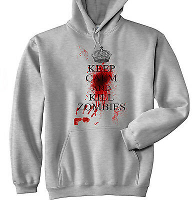 £25.99 • Buy Keep Calm And Kill Zombies - New Cotton Grey Hoodie - All Sizes In Stock