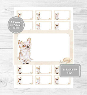 £3.50 • Buy Chihuahua (Long Coat) 42 Self Adhesive Stickers, Blank For Address/Gift Labels
