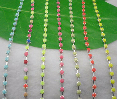 $7.99 • Buy SS12 Costume Applique 3mm Color Acrylic Rhinestone Silver Trimming Chain 5yards