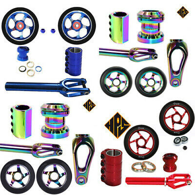 STUNT-SCOOTER-SET-SCS-CLAMP-100mm-110mm-METAL-CORE-WHEEL-THREADLESS-FORK-HEADSET • 99.99£