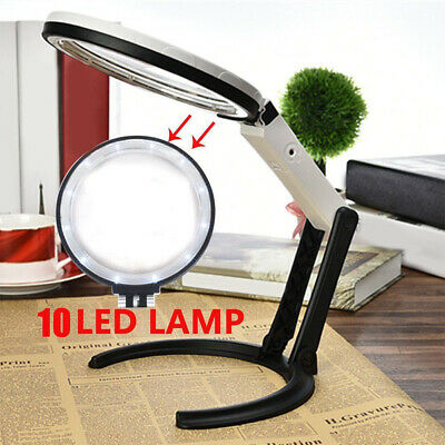 5X Large Magnifying Glass With Light LED LAMP Magnifier Foldable Stand Desk Read • 8.99£