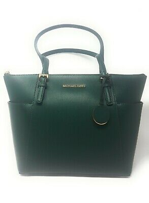 dd48ad32f9b36c Michael Kors Jet Set Top Zip East West Saffiano Leather Tote, Racing Green-  Gold