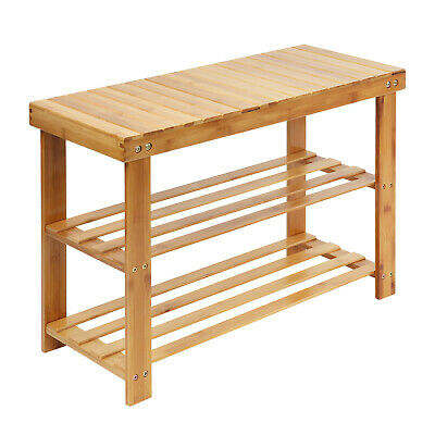 £20.89 • Buy New Wooden Style 3 Tier Shoe Storage Rack Stool 100% Natural Bamboo With Bench