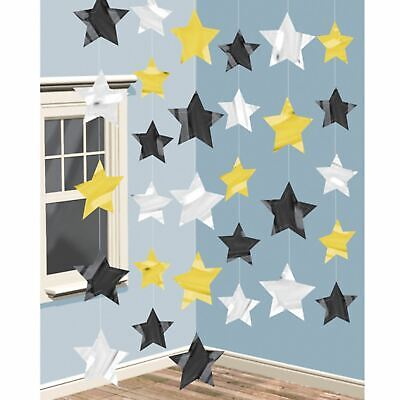£4.30 • Buy 6 7ft Strings Black Gold Silver Stars Hollywood Birthday Party Prom Decorations