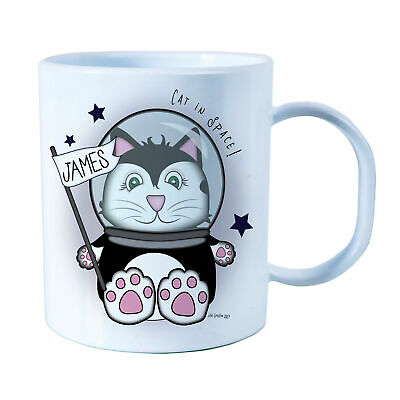 Personalised Space Cat Plastic Mug Children's Birthday Gift Juice Cup Any Name • 10.99£