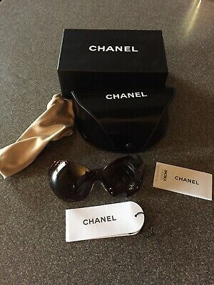 6d05eeb88d0f8 VHTF Chanel Brown Quilted Oversized Women Sunglasses 4165 C.378 73 -NWOT •