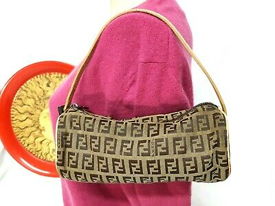 abea0dc6bf88 Vintage Fendi Zucca Pattern Brown Canvas Accessory Pouch Bag • 75.00